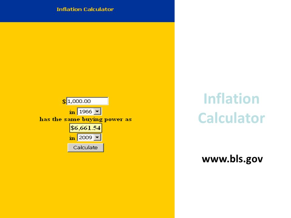 Inflation Calculator www.bls.gov