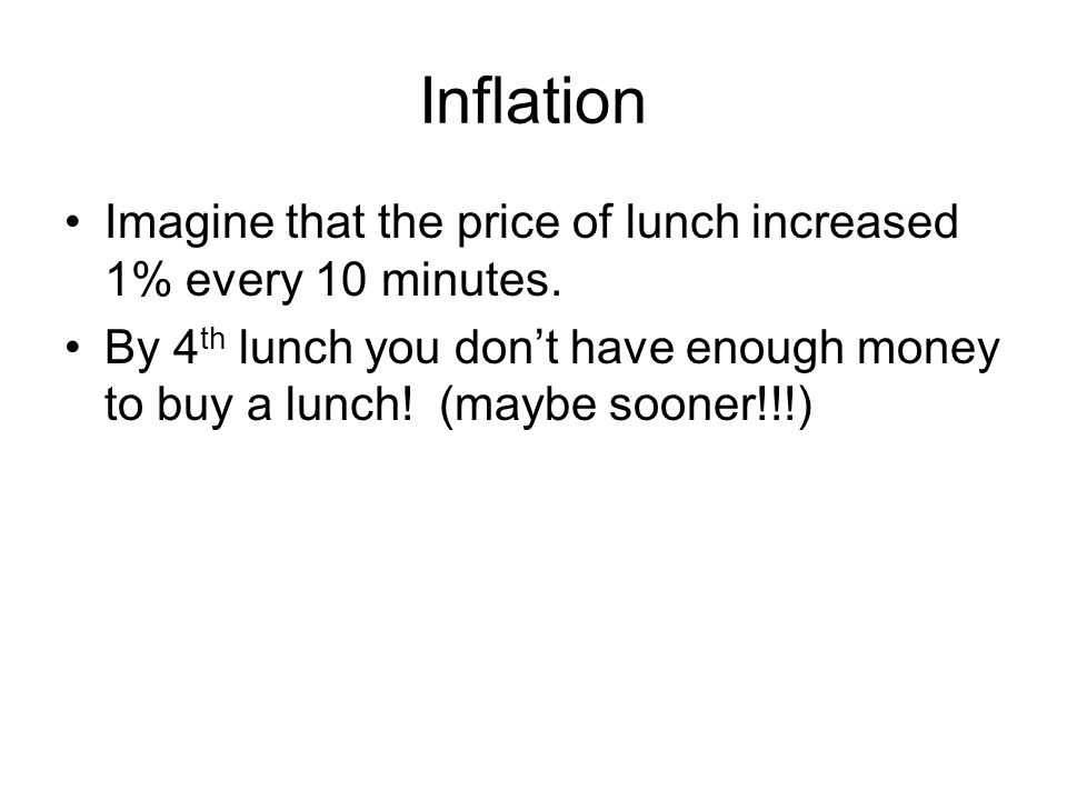 Inflation Imagine that the price of lunch increased 1% every 10 minutes.