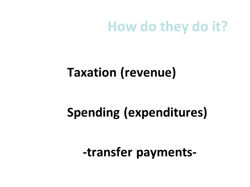 How do they do it Taxation (revenue) Spending (expenditures)