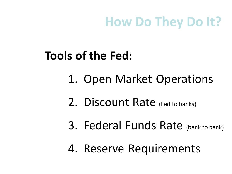 How Do They Do It Tools of the Fed: 1. Open Market Operations