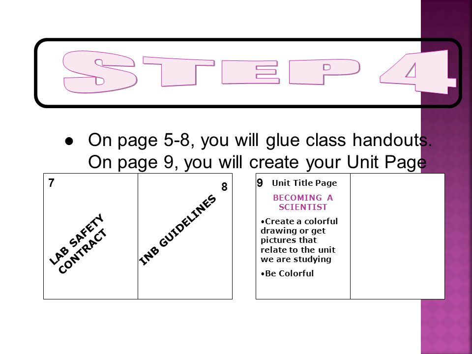 STEP 4 On page 5-8, you will glue class handouts. On page 9, you will create your Unit Page. 7. 9.