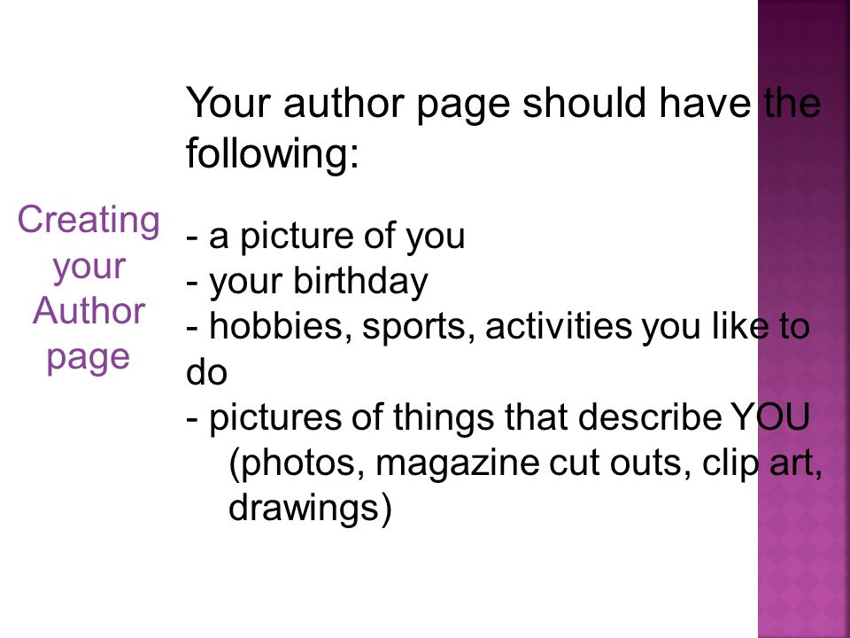 Your author page should have the following: