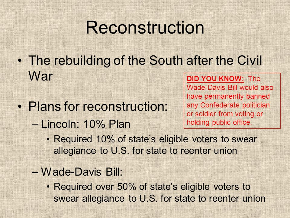 Reconstruction The rebuilding of the South after the Civil War