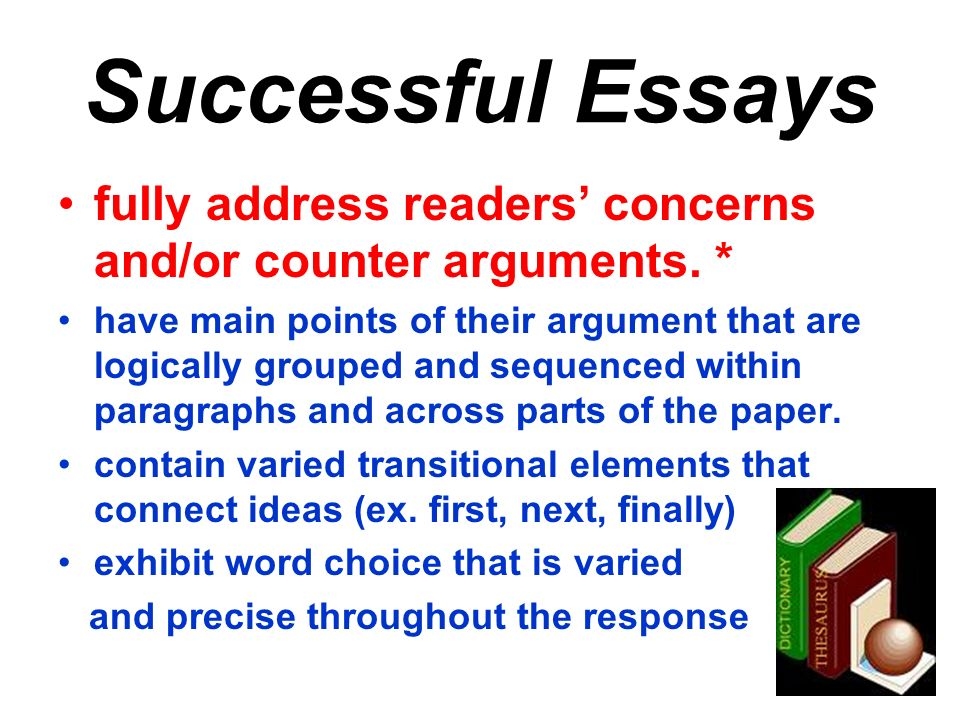 Successful Essays fully address readers' concerns and/or counter arguments. *
