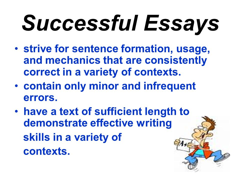 Successful Essays strive for sentence formation, usage, and mechanics that are consistently correct in a variety of contexts.
