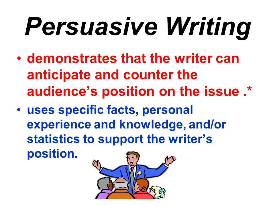 Persuasive Writing demonstrates that the writer can anticipate and counter the audience's position on the issue .*