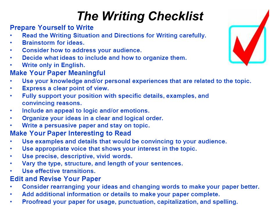 The Writing Checklist Prepare Yourself to Write