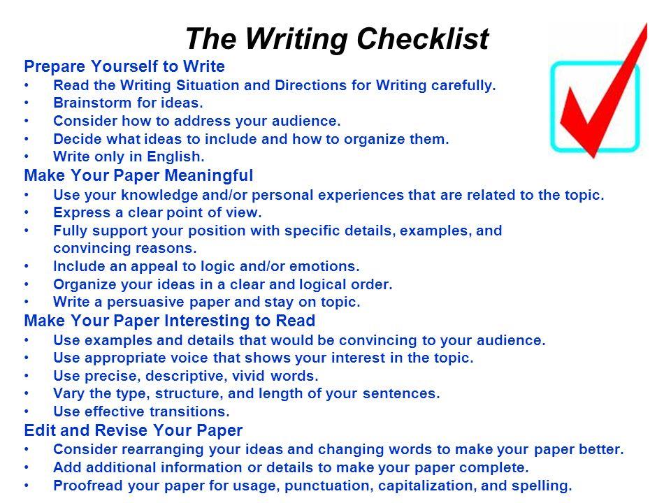 The Writing Checklist Prepare Yourself to Write