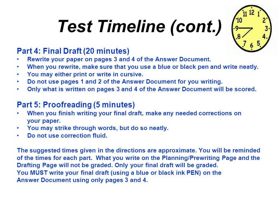 Test Timeline (cont.) Part 4: Final Draft (20 minutes)