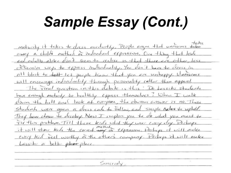 Sample Essay (Cont.)