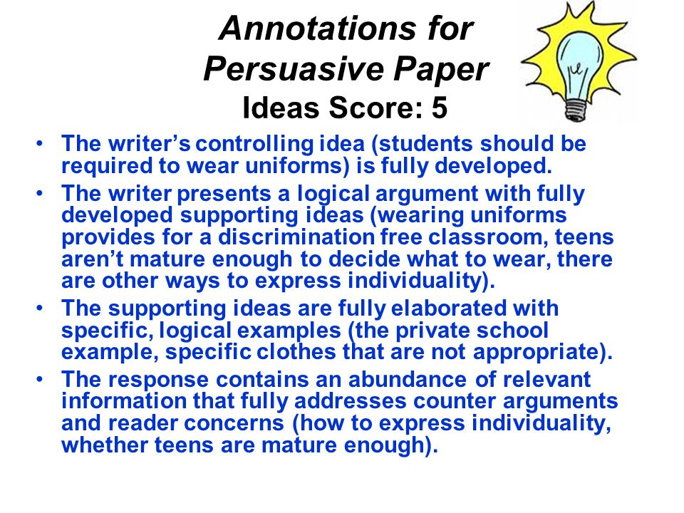 Annotations for Persuasive Paper Ideas Score: 5