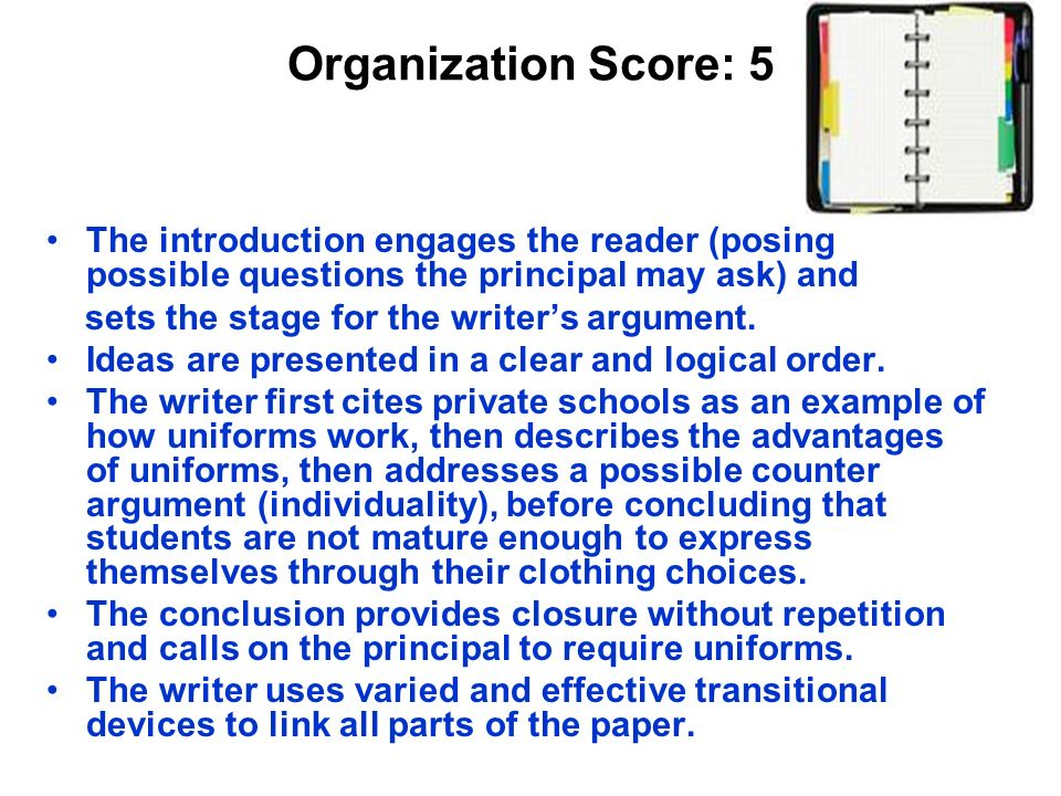 Organization Score: 5 The introduction engages the reader (posing possible questions the principal may ask) and.