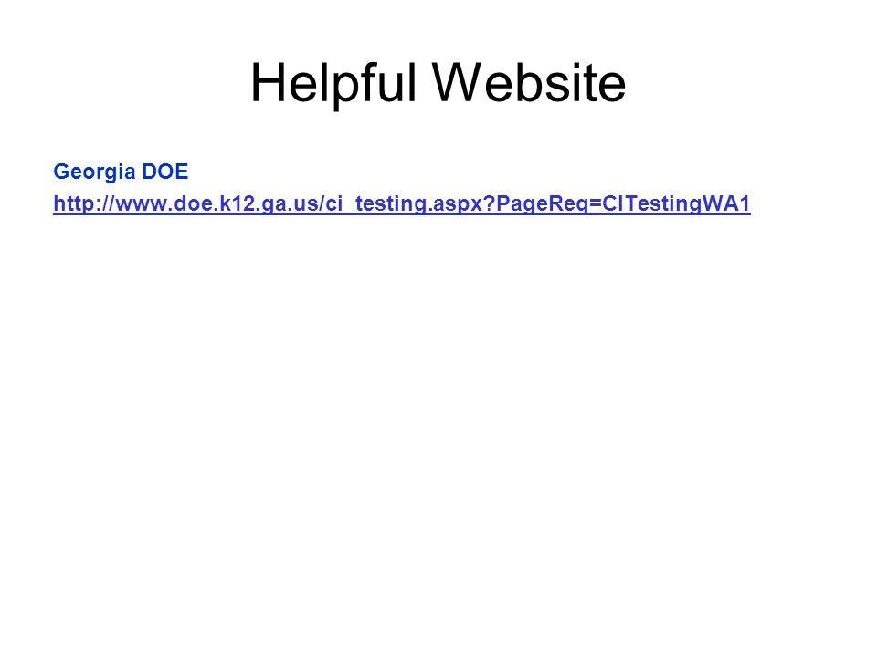 Helpful Website Georgia DOE
