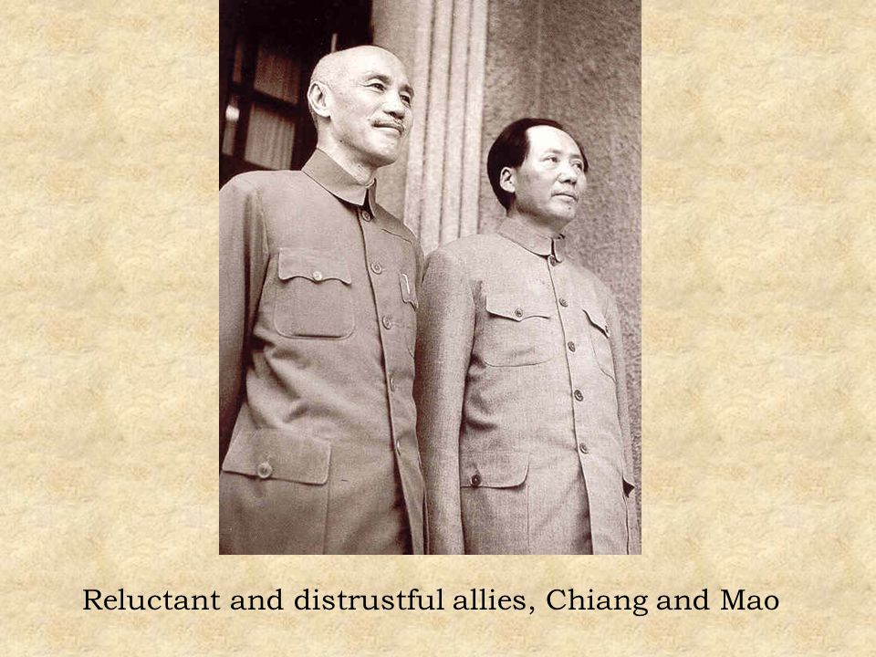 Reluctant and distrustful allies, Chiang and Mao