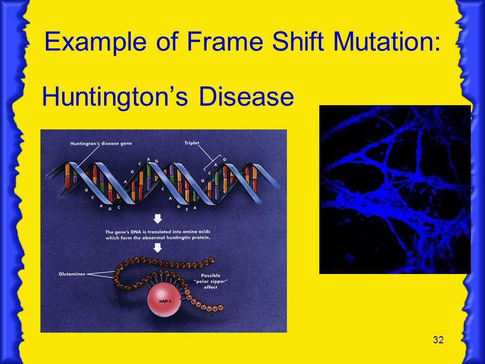 Example of Frame Shift Mutation: