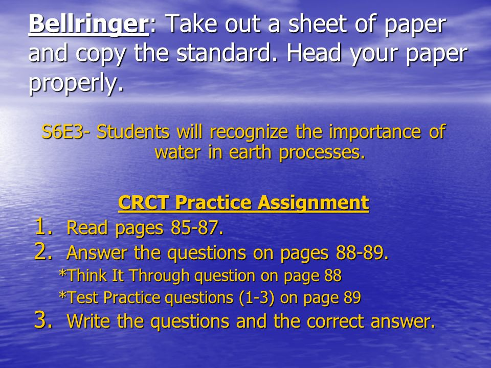 CRCT Practice Assignment