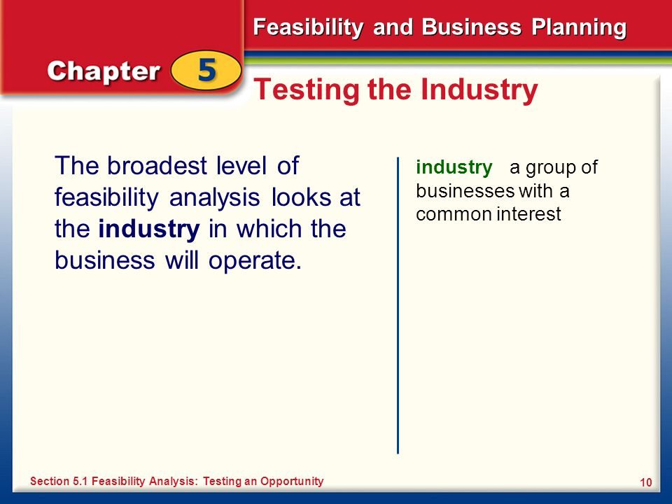 Testing the IndustryThe broadest level of feasibility analysis looks at the industry in which the business will operate.