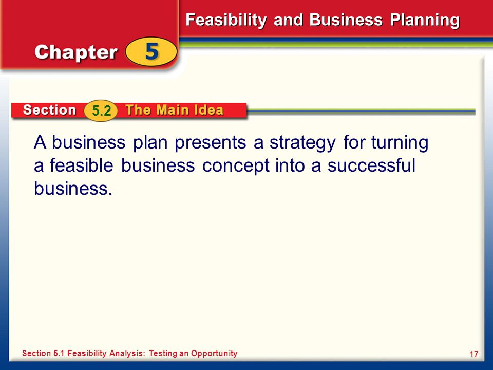 5.2A business plan presents a strategy for turning a feasible business concept into a successful business.