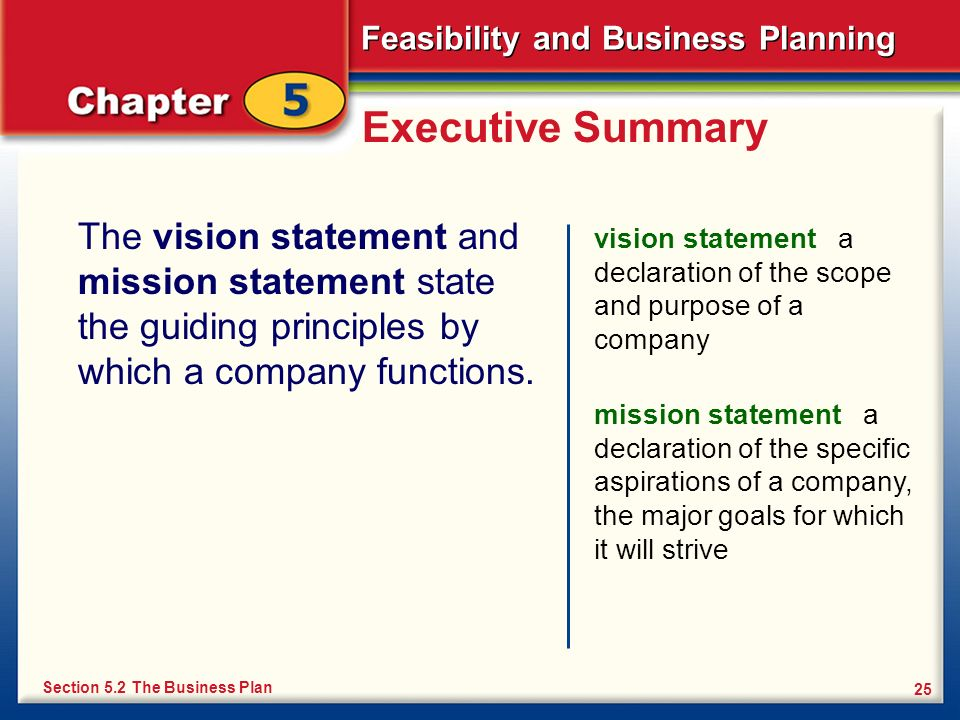 Executive SummaryThe vision statement and mission statement state the guiding principles by which a company functions.