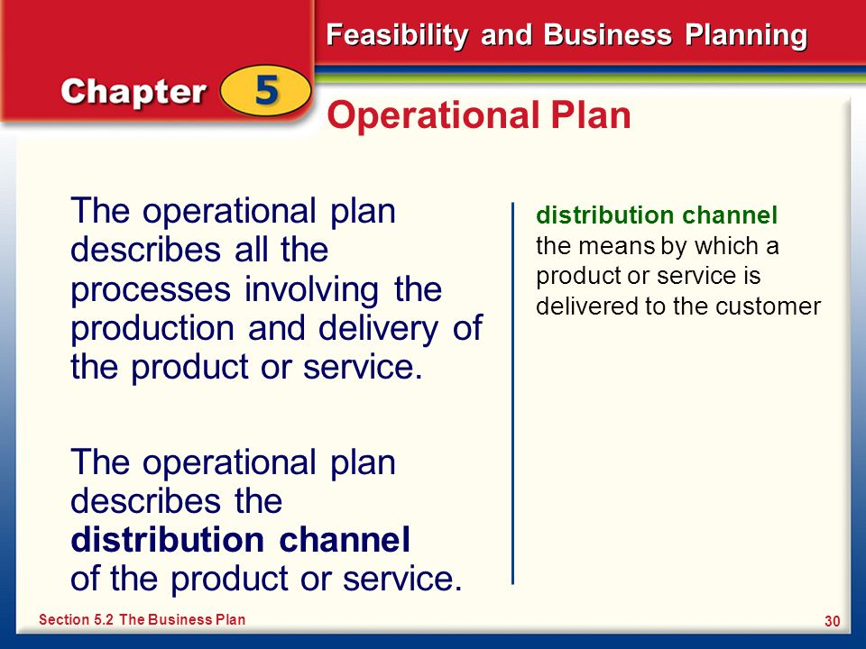 Operational PlanThe operational plan describes all the processes involving the production and delivery of the product or service.