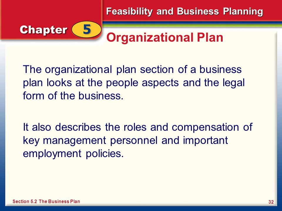 Organizational Plan The organizational plan section of a business plan looks at the people aspects and the legal form of the business.