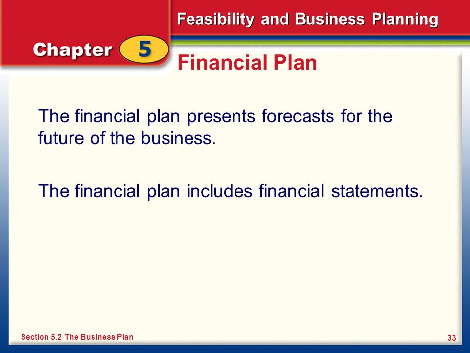 Financial Plan The financial plan presents forecasts for the future of the business. The financial plan includes financial statements.