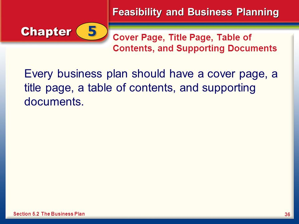 Cover Page, Title Page, Table of Contents, and Supporting Documents