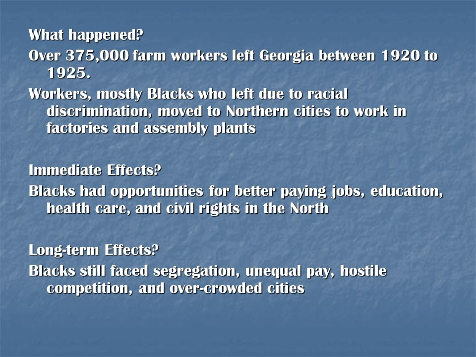 What happened Over 375,000 farm workers left Georgia between 1920 to 1925.