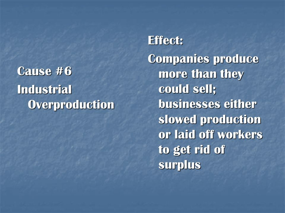 Effect: Companies produce more than they could sell; businesses either slowed production or laid off workers to get rid of surplus.