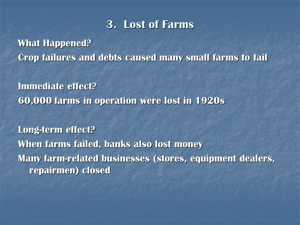 3. Lost of Farms What Happened
