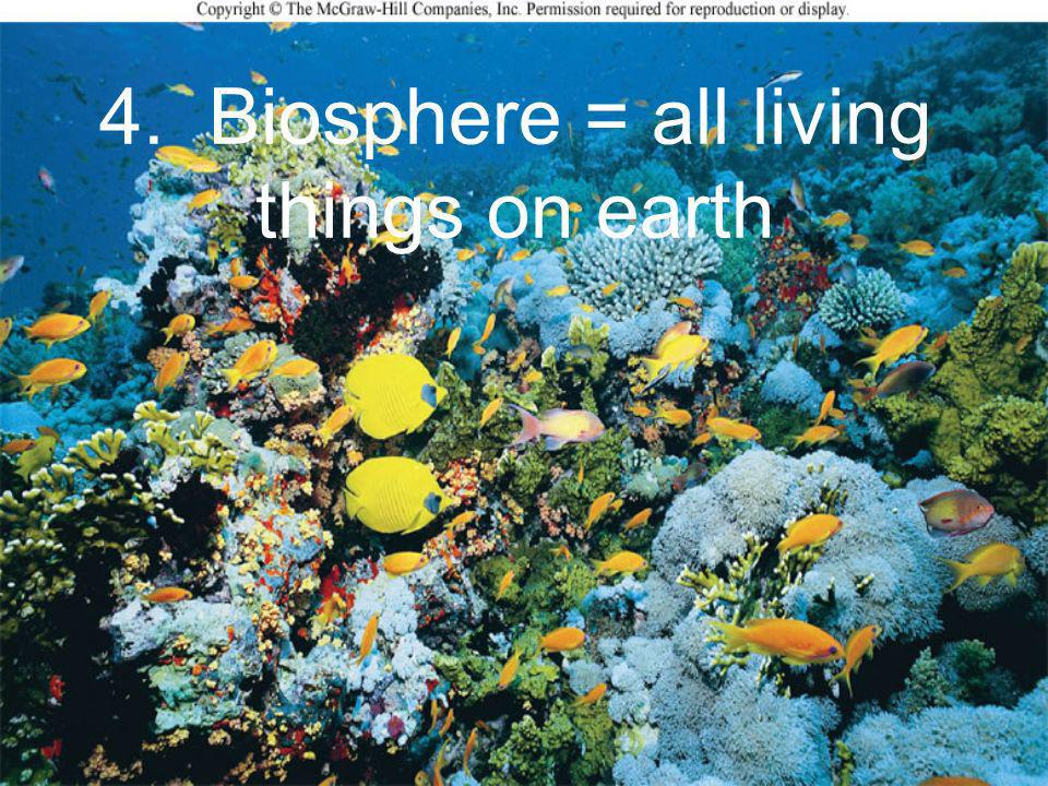 4. Biosphere = all living things on earth