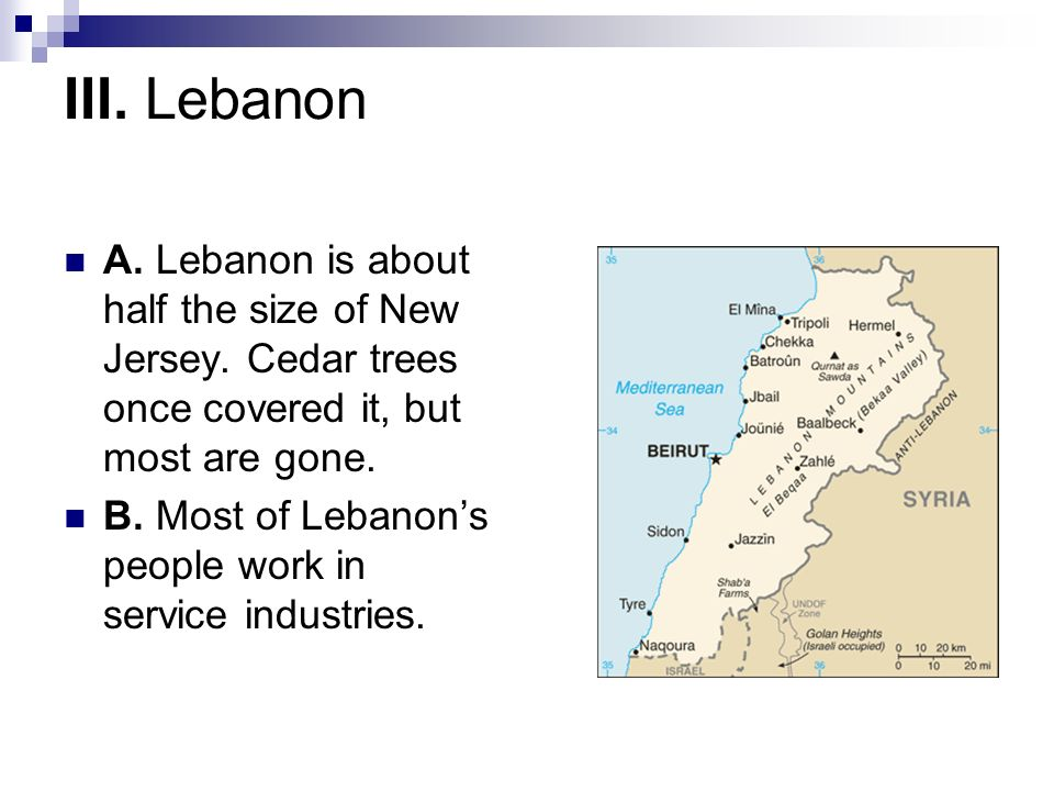 III. LebanonA. Lebanon is about half the size of New Jersey. Cedar trees once covered it, but most are gone.