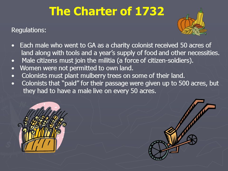 The Charter of 1732 Regulations: