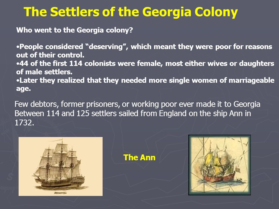 The Settlers of the Georgia Colony