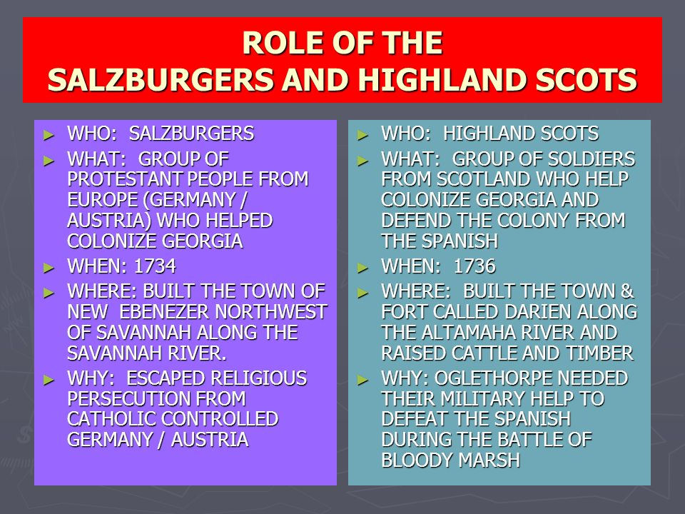 ROLE OF THE SALZBURGERS AND HIGHLAND SCOTS