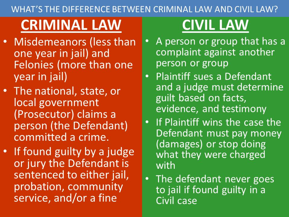difference between civil and criminal law Criminal law handles crimes against the state and prosecuted by the government  civil cases are disputes between people or businesses if.