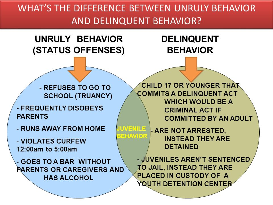 WHAT'S THE DIFFERENCE BETWEEN UNRULY BEHAVIOR AND DELINQUENT BEHAVIOR