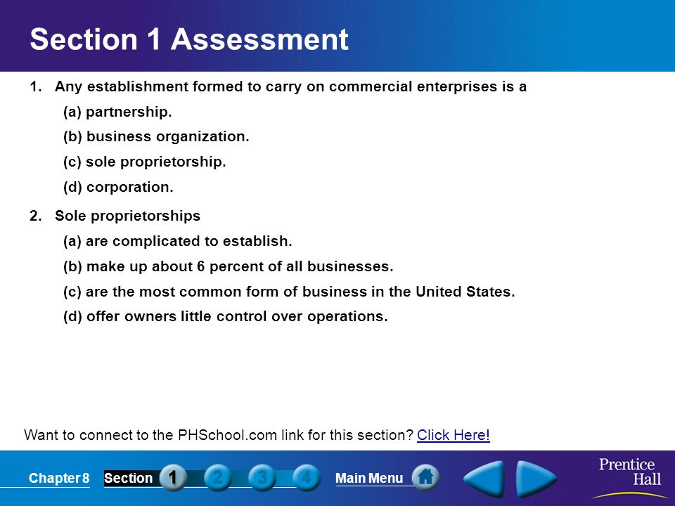 Section 1 Assessment 1. Any establishment formed to carry on commercial enterprises is a. (a) partnership.