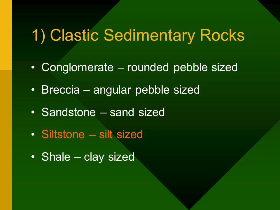 1) Clastic Sedimentary Rocks