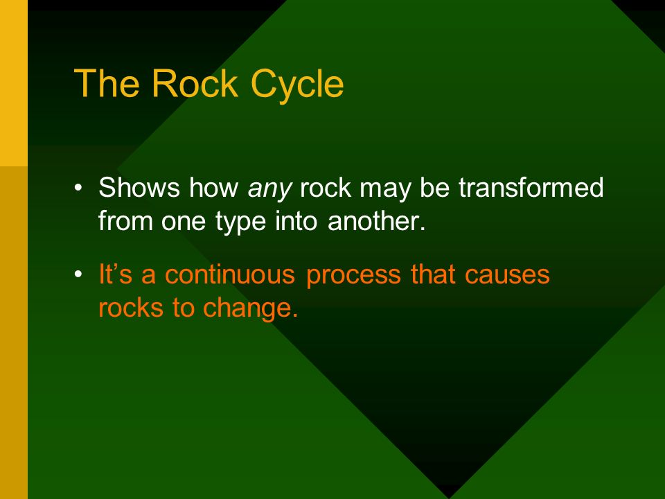 The Rock Cycle Shows how any rock may be transformed from one type into another.