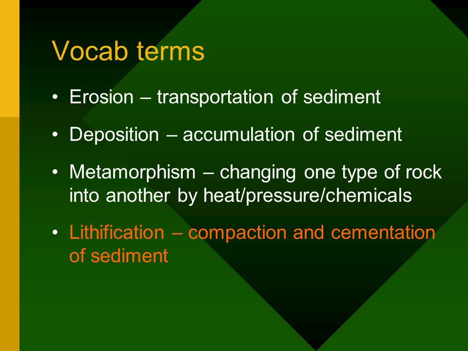 Vocab terms Erosion – transportation of sediment
