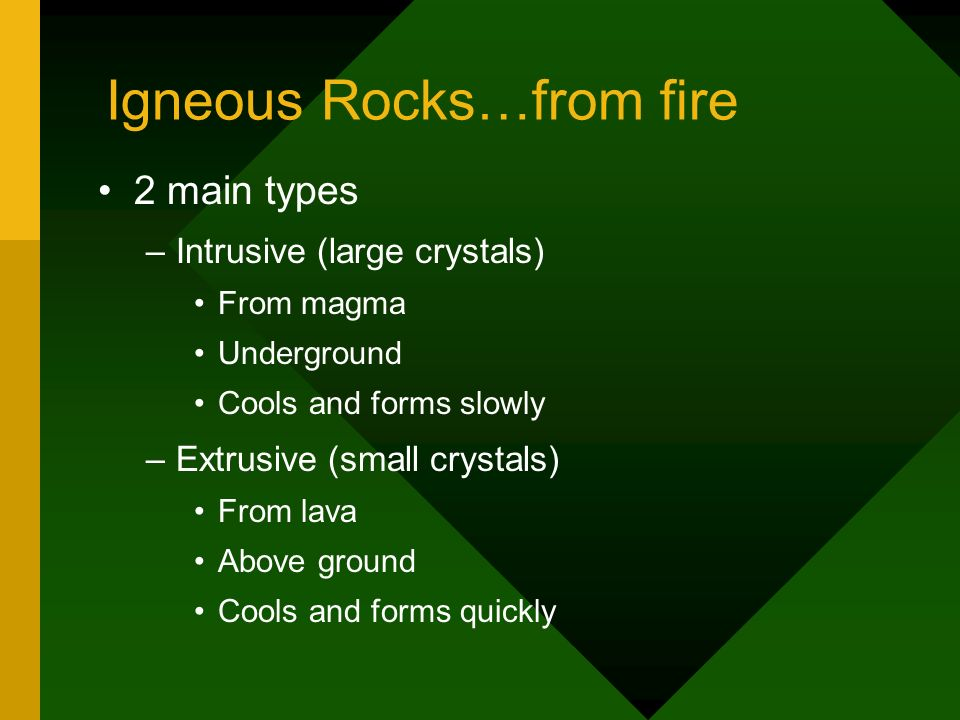 Igneous Rocks…from fire