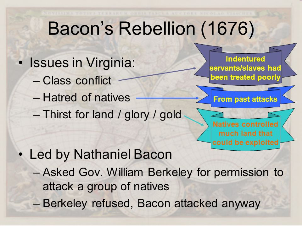 Bacon's Rebellion (1676) Issues in Virginia: Led by Nathaniel Bacon