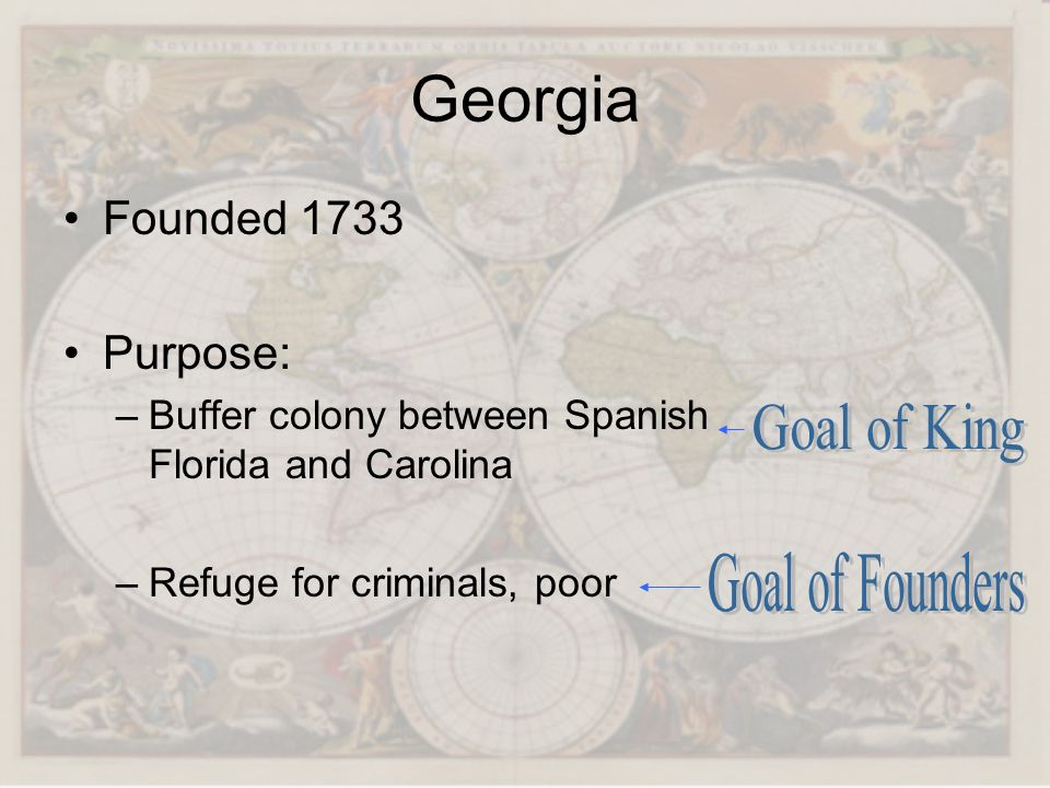 Georgia Goal of King Goal of Founders Founded 1733 Purpose: