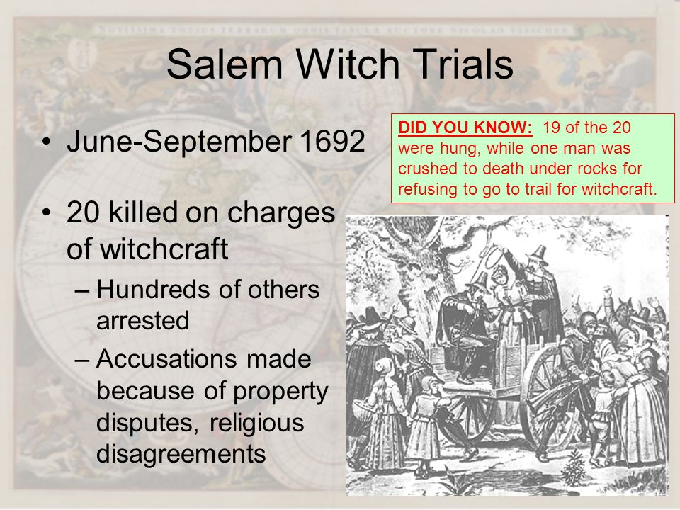 Salem Witch Trials June-September 1692