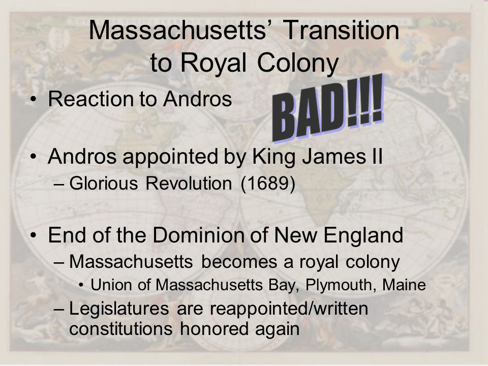 Massachusetts' Transition to Royal Colony