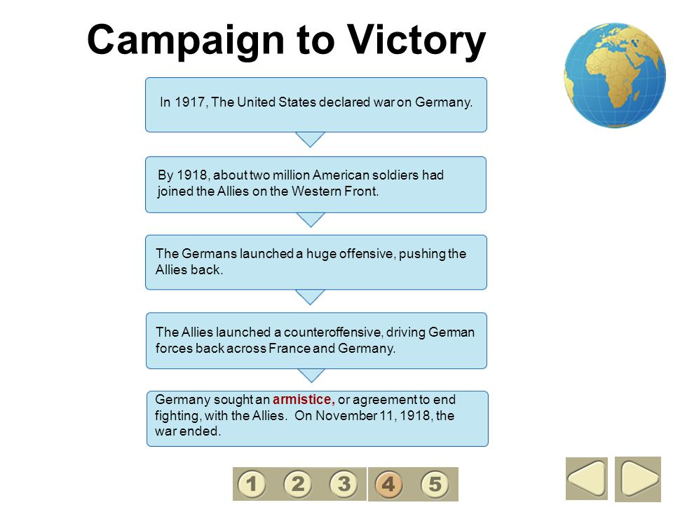 Campaign to Victory 4. In 1917, The United States declared war on Germany.