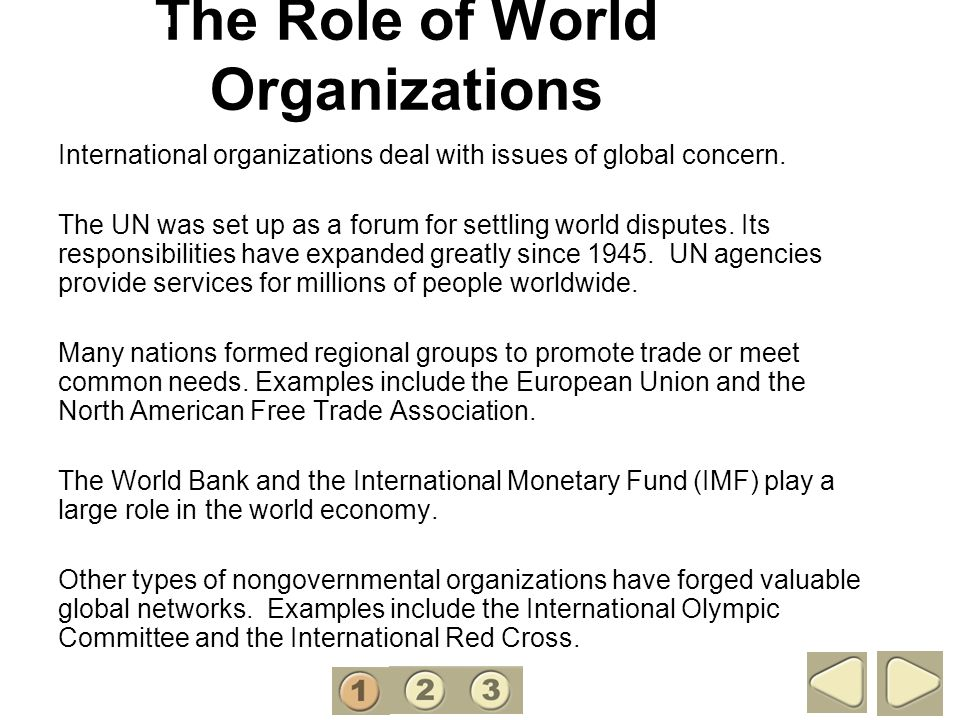 The Role of World Organizations