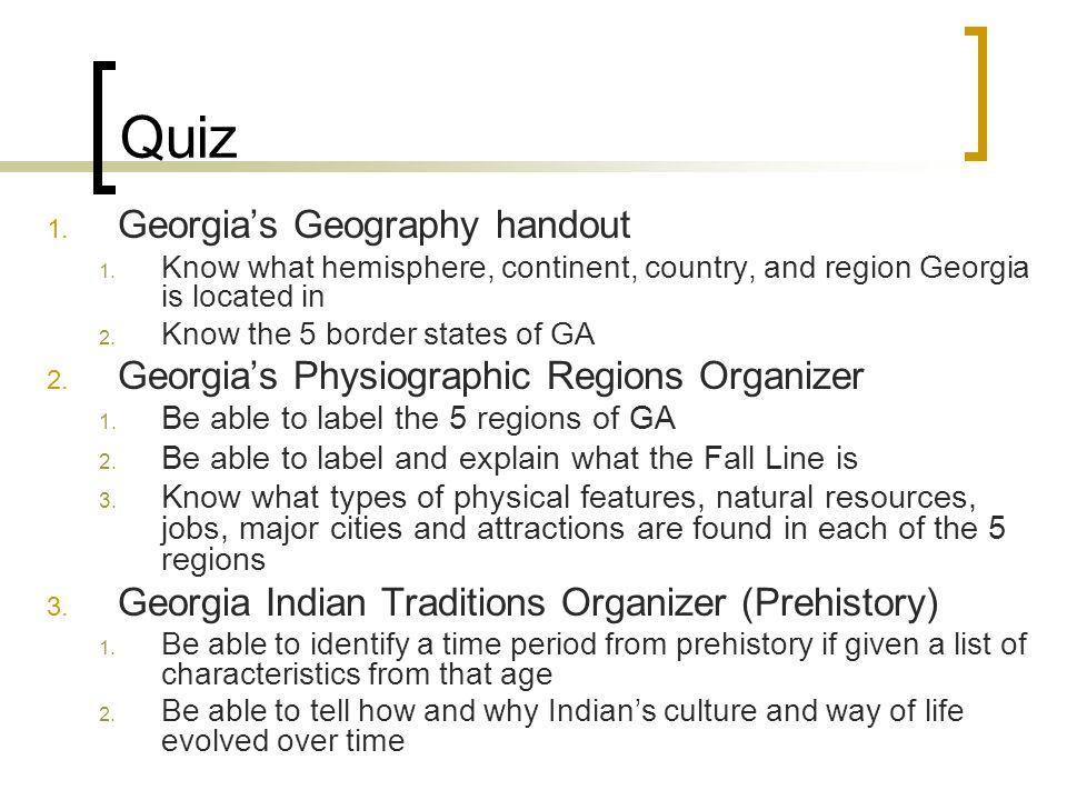 Quiz Georgia's Geography handout