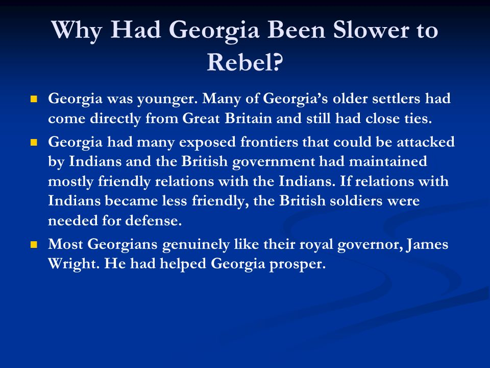 Why Had Georgia Been Slower to Rebel